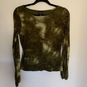 INC International Concepts Tops - Vintage INC Green Tie Dye Cut Out Long Sleeve Top